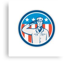 American Soldier Salute Flag Circle Retro Canvas Print