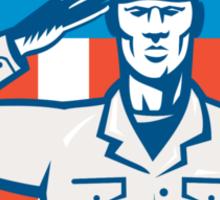 American Soldier Salute Flag Circle Retro Sticker