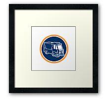 Street Cleaner Truck Circle Retro Framed Print