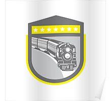 Steam Train Locomotive Retro Shield Poster