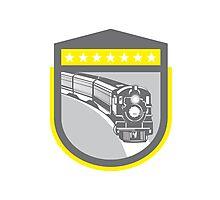 Steam Train Locomotive Retro Shield Photographic Print