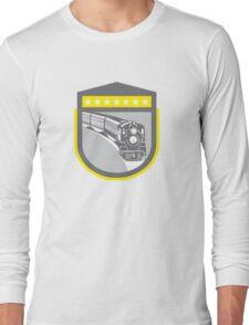 Steam Train Locomotive Retro Shield Long Sleeve T-Shirt