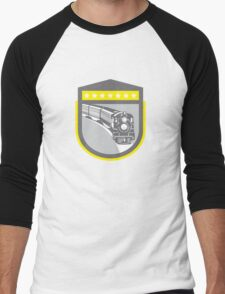 Steam Train Locomotive Retro Shield Men's Baseball ¾ T-Shirt