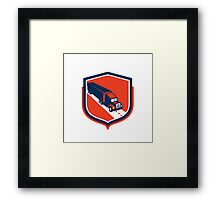 Container Truck and Trailer Shield Retro Framed Print