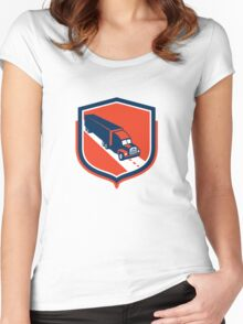 Container Truck and Trailer Shield Retro Women's Fitted Scoop T-Shirt