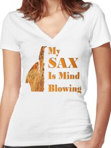 My SAX is Mind Blowing #2 Women's Fitted V-Neck T-Shirt