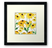 yellow sun choke flower Framed Print