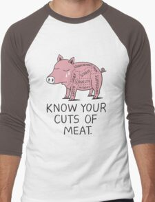 Vegan T-shirt - Know Your Cuts of Meat  Men's Baseball ¾ T-Shirt