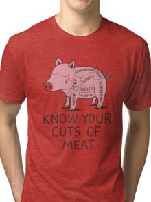 Vegan T-shirt - Know Your Cuts of Meat  Tri-blend T-Shirt