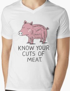 Vegan T-shirt - Know Your Cuts of Meat  Mens V-Neck T-Shirt