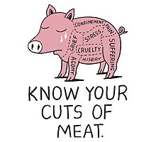 Vegan T-shirt - Know Your Cuts of Meat  Photographic Print