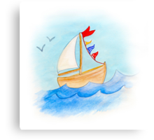 Watercolor whimsical sail boat on a windy day Canvas Print