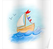 Watercolor whimsical sail boat on a windy day Poster
