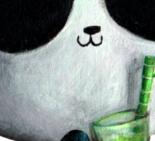 Cute Panda with Bamboo Drink Sticker