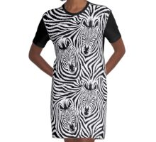 Zebra Couple Graphic T-Shirt Dress