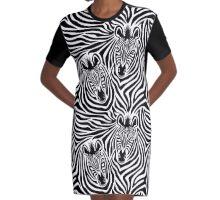 Zebra Couple Graphic T-Shirt Dress