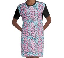 Leopard Spots Pattern Graphic T-Shirt Dress