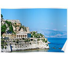 Greek Temple on Coast of Corfu Poster