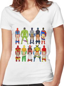 Superhero Butts Women's Fitted V-Neck T-Shirt