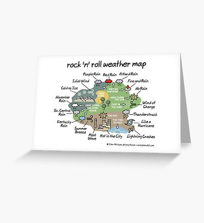 rock 'n' roll weather map Greeting Card