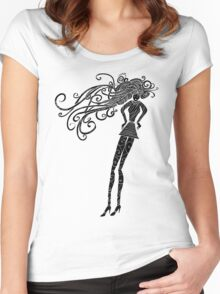 Long hair woman silhouette Women's Fitted Scoop T-Shirt