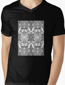 Black and White Paisley Pattern Mens V-Neck T-Shirt