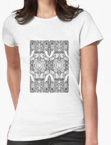 Black and White Paisley Pattern Womens Fitted T-Shirt