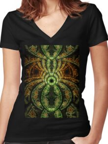 Jungle - Abstract Fractal Artwork Women's Fitted V-Neck T-Shirt