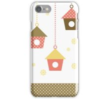 Cute spring colorful Bird houses set vector iPhone Case/Skin