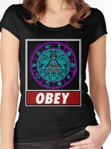 Gravity Falls- bill cipher wheel Obey Women's Fitted Scoop T-Shirt