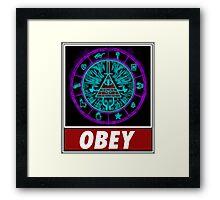 Gravity Falls- bill cipher wheel Obey Framed Print