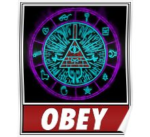 Gravity Falls- bill cipher wheel Obey Poster