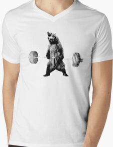 Grizzly Bear Deadlifting Mens V-Neck T-Shirt