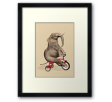 Elephant On Red Tricycle Framed Print