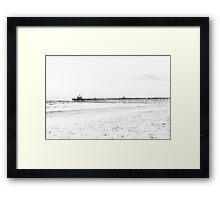 Folly Beach in Black and White Framed Print