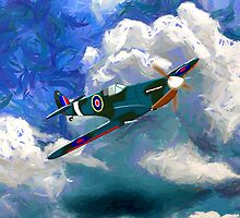 A Supermarine Spitfire - pillows & totes by Dennis Melling