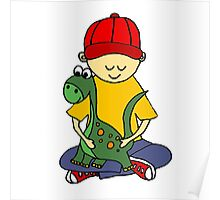 Cool Funny Cute Little Boy Hugging Pet Dinosaur Poster