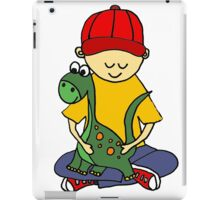Cool Funny Cute Little Boy Hugging Pet Dinosaur iPad Case/Skin
