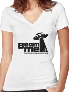 Beam me up V.2.2 (black) Women's Fitted V-Neck T-Shirt