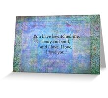 Jane Austen romantic quote Mr. Darcy Greeting Card