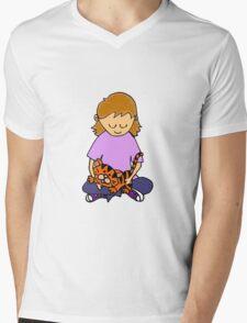 Cool Cute Little Girl Hugging her Kitten Mens V-Neck T-Shirt