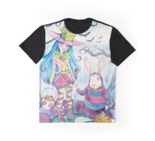 Alice and the White Rabbit, dressed as the Hatter and the Cheshire Cat for Halloween Graphic T-Shirt