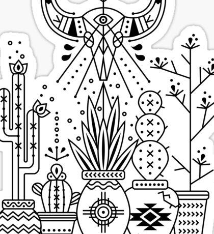 Santa Fe Garden – Black Ink Sticker
