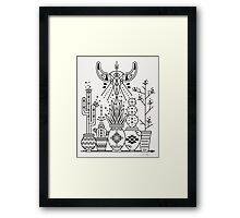 Santa Fe Garden – Black Ink Framed Print