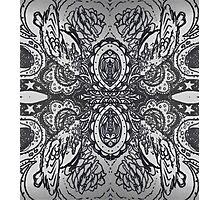 Black and White Hummingbird Mandala Photographic Print