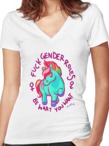 Feminist Pony Women's Fitted V-Neck T-Shirt