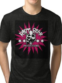 Riot Bear Productions pink and black  Tri-blend T-Shirt