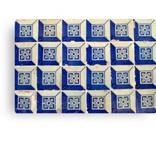 Blue and white 3D Tiles with flower Canvas Print