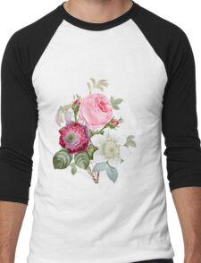 Rose Botanical Floral on Vintage Pink Men's Baseball ¾ T-Shirt