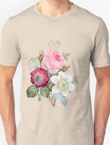 Rose Botanical Floral on Vintage Pink Unisex T-Shirt